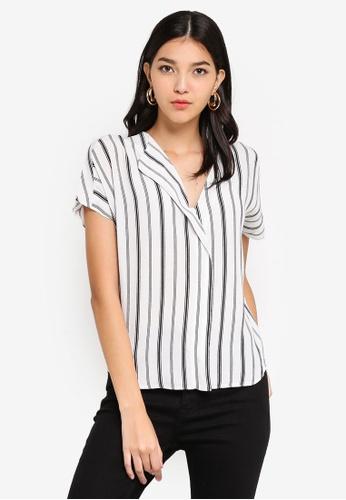 2d376ed6c29887 Buy WAREHOUSE Stripe Neck Fold Top Online on ZALORA Singapore