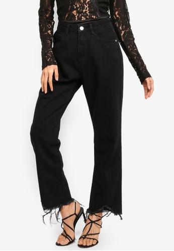 MISSGUIDED black Wrath Straight High Waist Rip Hem Jeans 06D7AAADEACFF2GS_1