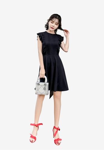 Lara black Ruffle Sleeveless Round Neck Aline Dress EA53EAA7955B40GS_1