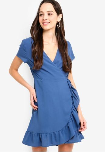 Something Borrowed blue Ruffles Hem Wrap Dress 0BD2BAAC99B03BGS_1