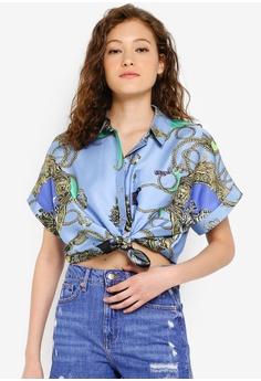 1afb5cc2785 River Island blue Carrie Chain Boxy Shirt 0BACEAAE9FF2CDGS_1