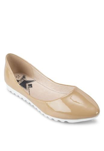 漆皮尖頭zalora鞋平底鞋, 女鞋, 芭蕾平底鞋