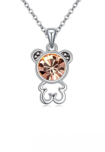 LOVENGIFTS silver and gold LOVENGIFTS Beary Love Pendant Necklace (Champagne Gold) LO429AC40TJNMY_1