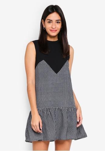 MDSCollections multi Freya Ruffled-Hem Dress In Black Gingham 6305BAAE8E4C3FGS_1