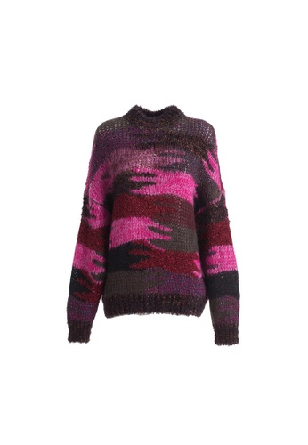 SAINT LAURENT red Saint Laurent Camo Knitted Sweater in Red,Pink 03EFBAA115B7BFGS_1