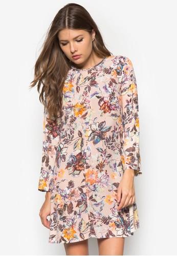 花卉長袖連mango taiwan身裙, 服飾, 洋裝
