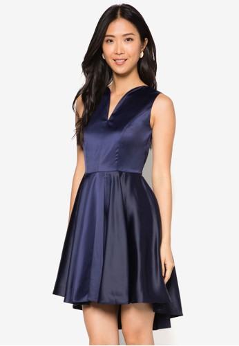 zalora 心得Lucia V 領燕尾傘擺洋裝, 服飾, 洋裝