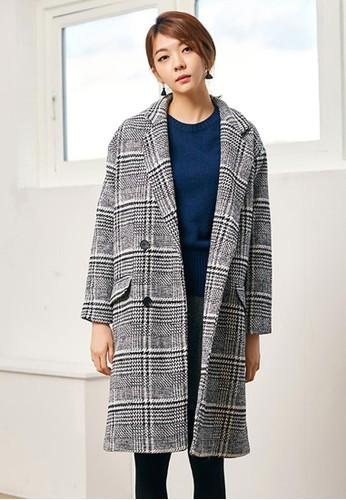雙排釦格子長款大衣, 服飾, 夾克 &aesprit台灣網頁mp; 大衣