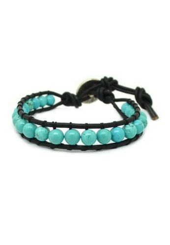 Fur Nyce green Turquoise Bead Single Wrap Leather Bracelet FU779AC76WTNMY_1
