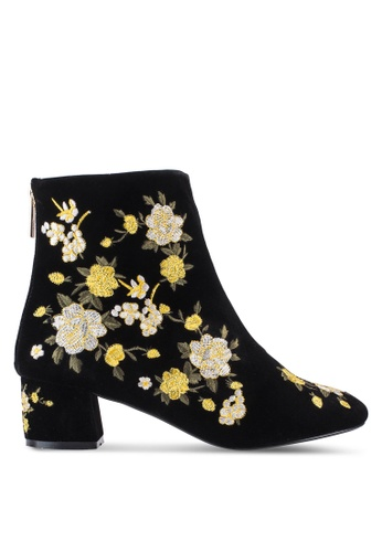 TOPSHOP black and yellow Blossom Embroidered Boots TO412SH24KNJMY_1