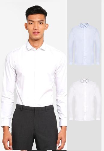Burton Menswear London 白色 修身長袖襯衫 428EBAAB47B5E5GS_1