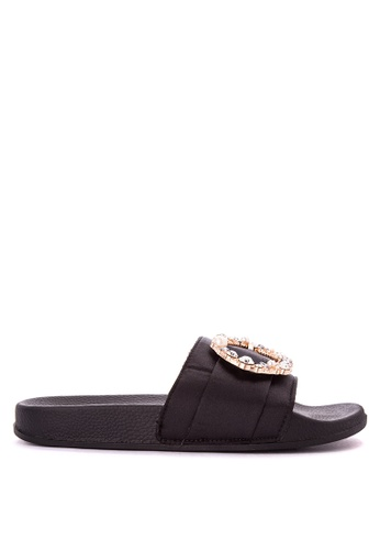Appetite Shoes black Stone Satin Slides 07EADSH17461F2GS_1