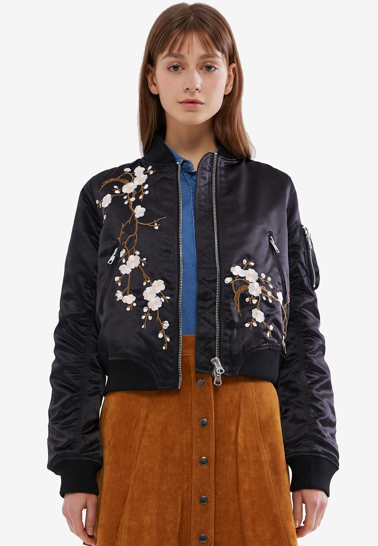 Hopeshow Embroidery Flower Black Bomber with Jacket rqWwzraOZ