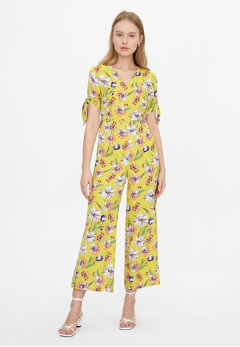 Pomelo yellow Bow Tie Sleeve Floral Jumpsuit - Yellow B745FAA796EEB5GS_1
