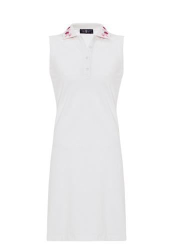 Jimmy Sanders white Jimmy Sanders Women's Inspired Sleeveless Cropped Polo Dress with Logo D6E17AAE799D20GS_1