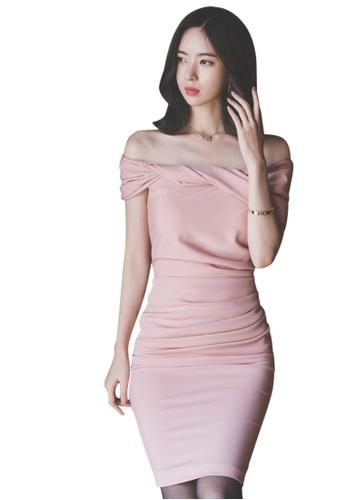 Sunnydaysweety pink 2017 S/S off shoulder pink color one piece Dress UA040310 SU219AA43DVSSG_1