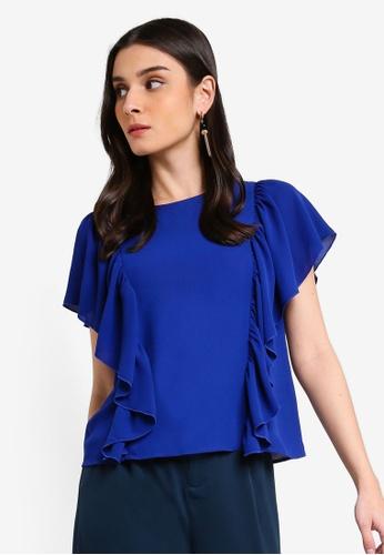 ZALORA 藍色 荷葉飾上衣 E2CFEAAEC3FC11GS_1