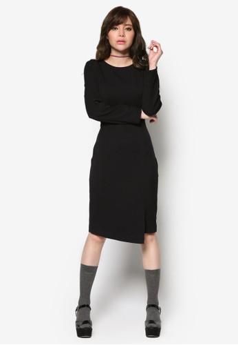 開叉長袖鉛筆連身裙, esprit tote bag服飾, 洋裝