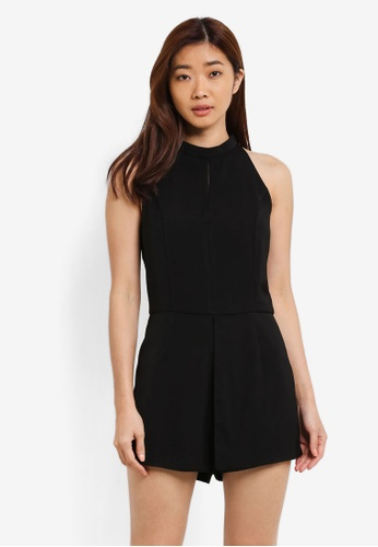 ZALORA black High Neck Playsuit WIth Front Pleat Detail C49E6AA12B6749GS_1