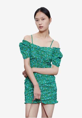 Urban Revivo green Vintage Ruched Dress F6A2FAA9A4214CGS_1