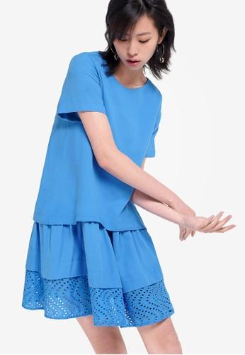 Saturday Club blue Shift Dress With Layered Embroidered Hem 4692BAA7B976F5GS_1