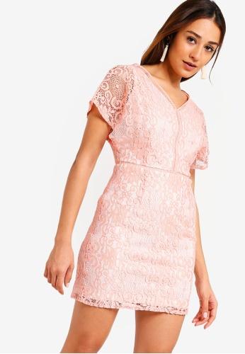 ZALORA pink Lace Sheath Dress E3E2DAA1F5D39FGS_1