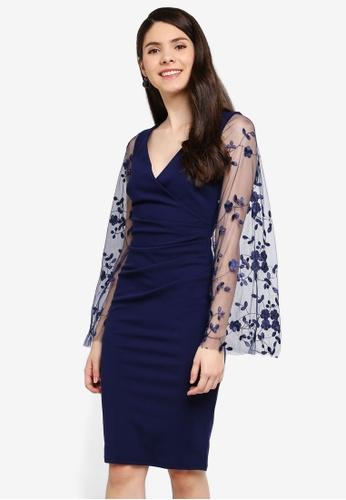 Goddiva 海軍藍色 Ruched Pleat 洋裝 With 透視 刺繡Sleeves 98786AA350C685GS_1