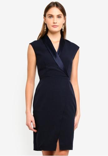 CLOSET navy Wrap Front Collar Contrast Dress 5F656AAEDCFAF6GS_1