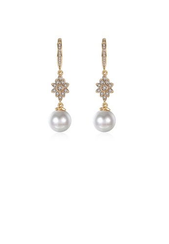 Glamorousky white Elegant Golden Flower Earrings with Fashion Pearls and Austrian Element Crystals(undefine) 9D94EAC2424F1DGS_1
