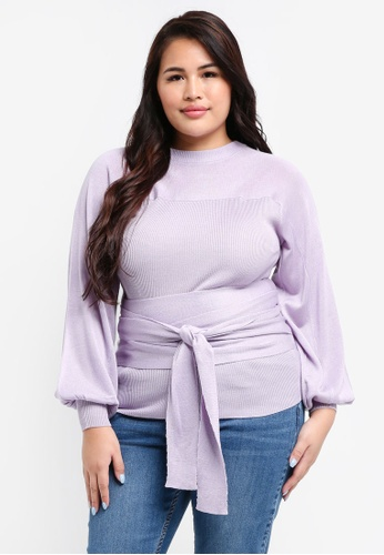 LOST INK PLUS purple Plus Size Jumper With Blouson Sleeve & Tie Detail EB63BAA7D981D6GS_1