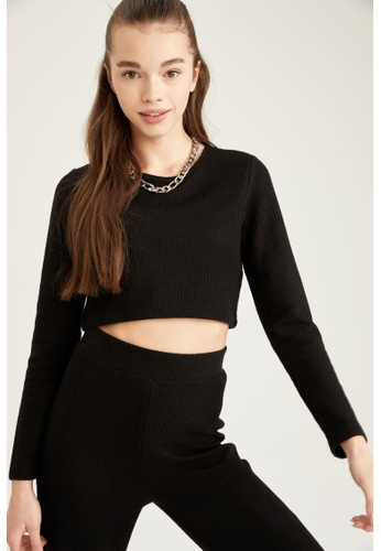 DeFacto black Woman Knitted Long Sleeve Tops AAF6FAA7EB2292GS_1