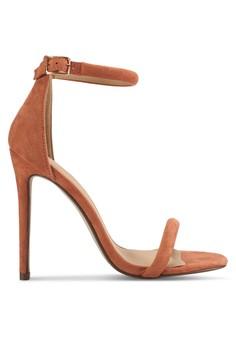 圓滾鞋帶細高跟涼鞋