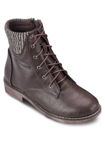 印花反折靴口繫帶短靴, esprit 面試女鞋, 鞋