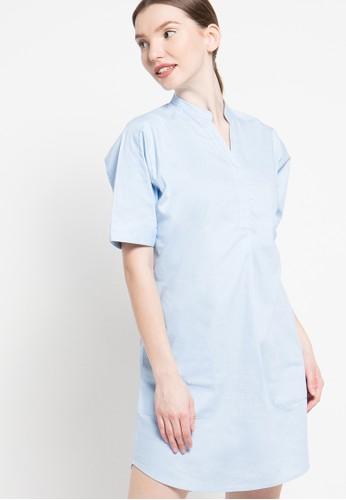Contempo blue V-Neck Midi Dress CO339AA75GLGID_1