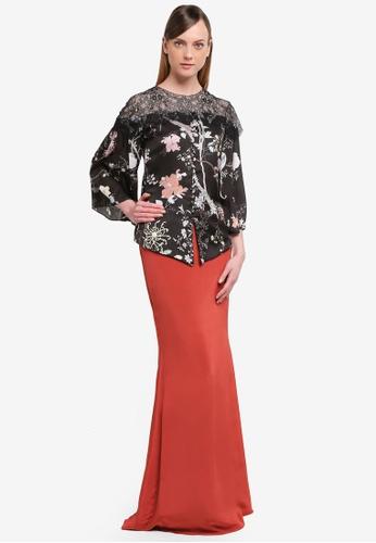 YADOTSA for ZALORA black and orange Suri Printed Lace Button Kurung YA729AA0STGVMY_1