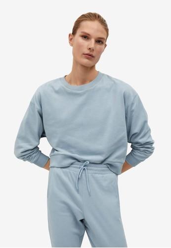 Mango blue Cotton Sweatshirt 49BFFAA527E9CDGS_1