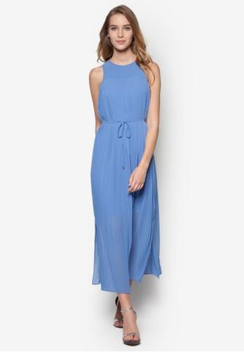 褶飾繫帶及膝洋裝, 服飾,esprit outlet hk 洋裝