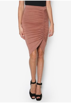 Ruched Front Jersey Midi Skirt