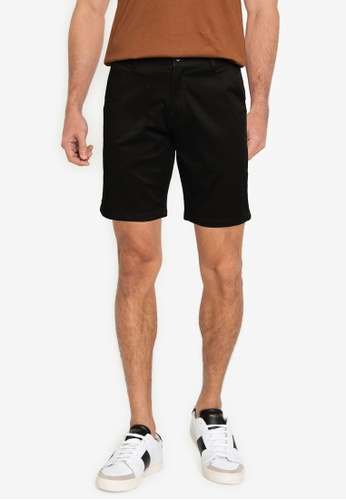 UniqTee black Relaxed-Fit Washed Chino Shorts 17D03AA55DF555GS_1