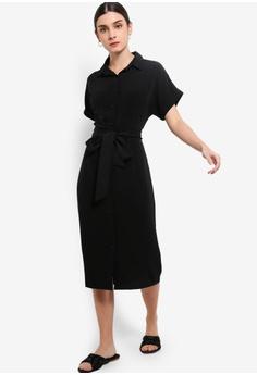 b76cb0652a9c8d ZALORA black Midi Shirt Dress 7B9FCAA4055590GS 1
