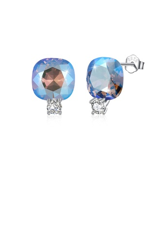Glamorousky blue 925 Sterling Silver Fashion Simple Geometric Square Stud Earrings with Lake Blue Austrian Element Crystal 5280FAC6571E81GS_1