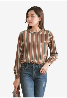 3a84d959040 Tokichoi brown Striped Chiffon Blouse 21761AA89F83F7GS 1