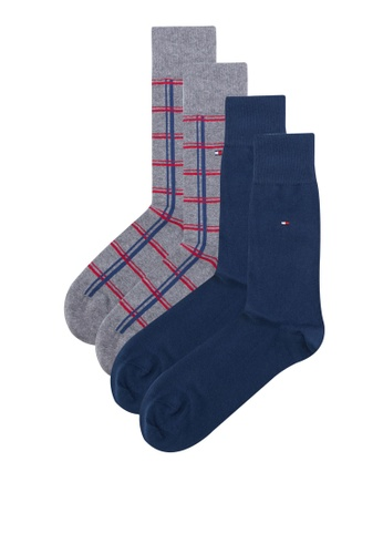 Tommy Hilfiger grey and blue TH MEN WINDOW CHECK SOCK 2P TO729AA07WQASG_1