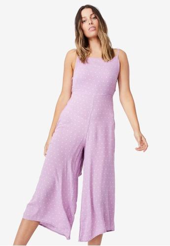 Cotton On purple Woven Rose Tie Back Jumpsuit 8DE20AAD8AD5FEGS_1