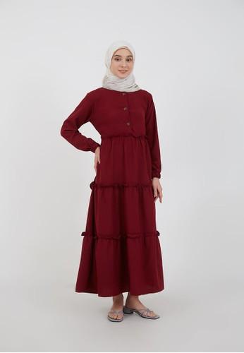 Hijabenka red Sephia Miana Ruffle Dress Maroon 6D3FFAA601F0ABGS_1