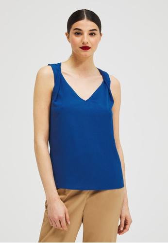 Sisley blue Plain Sleeveless Top 602E9AAC3834A1GS_1