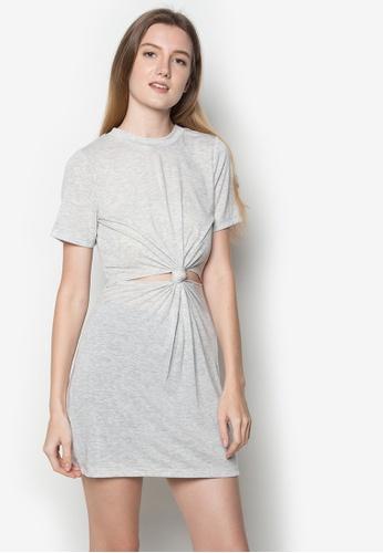 Twenteen grey Isla Knotted Cut-Out Dress TW408AA48BUPPH_1