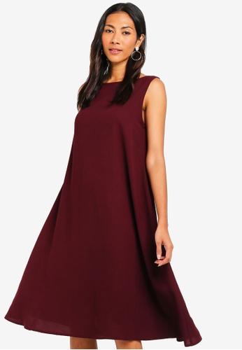 ZALORA BASICS purple Basic Cut Out Back Oversized Shift Dress 06F58AA7742A43GS_1