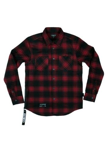 L.I.M.I.T.E 紅色 磨毛格仔布恤衫 145CAAA71EAA4CGS_1