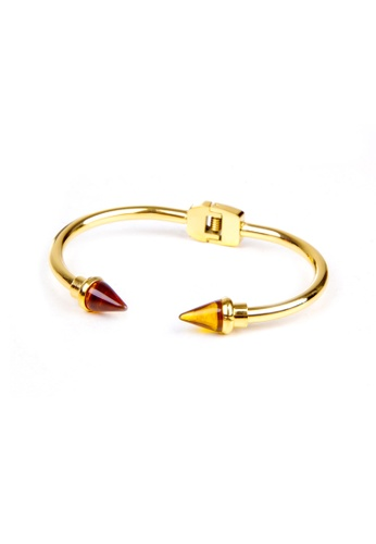 Dazz gold Stainless Steel Spike Bangle with Brown Tip DA408AC41VCWMY_1